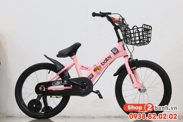 Xe đạp trẻ em 18 inch baby gâp đươc - màu hông - 2