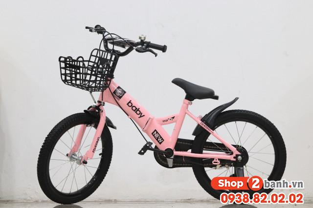 Xe đạp trẻ em 18 inch baby gâp đươc - màu hông - 1