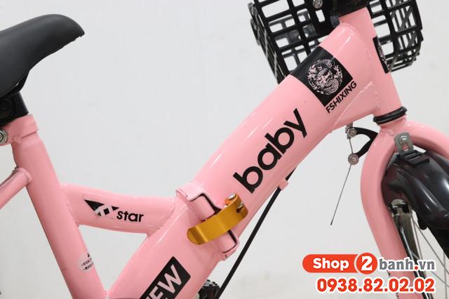 Xe đạp trẻ em 18 inch baby gâp đươc - màu hông - 5