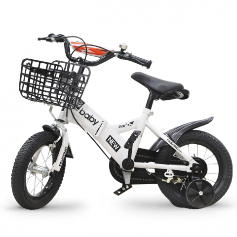 Xe đạp trẻ em 12 inch BaBy gấp được - Màu trắng